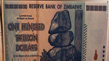 A 100 trillion dollar note from the era before Zimbabwe dropped its own currency and adopted the US dollar.