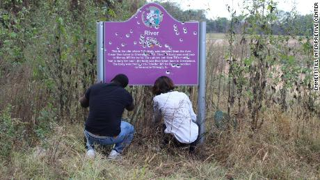 The second version of the memorial sign was vandalized in 2016.