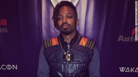Math teacher David Mikel Etheridge wore three different Killmonger costumes to the event