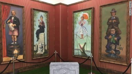 "Original hand-painted Haunted Mansion stretching portraits. Remember Paul Frees' basso as the Ghost Host: ""Is this haunted room actually stretching? Or is it your imagination — hmm?"" Auction estimates: $50,000-$75,000 each."