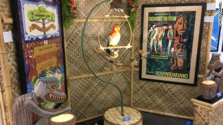 An image of José, the audio-animatronic bird from The Enchanted Tiki Room! He moves and sings (original audio recording) thanks to pneumatic tubing built into his perch. ($50,000-$75,000)