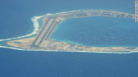 The Chinese-controlled artificial island of Mischief reef in the South China Sea, as seen by CNN from a US reconnaissance plane on August 10, 2018.