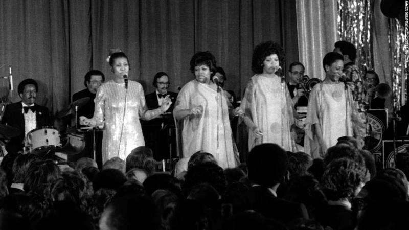 Franklin, far left, performs at Jimmy Carter's Presidential Inaugural Gala on January 20, 1977, in Washington, D.C.
