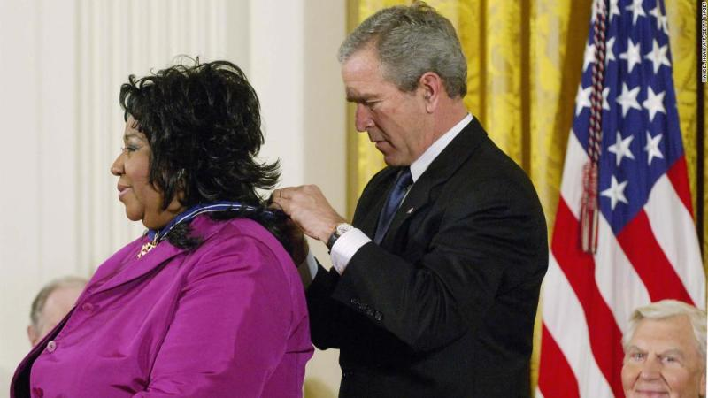Former President George W. Bush presented Franklin with the Presidential Medal of Freedom, the nation's highest civilian honor, in 2005. The medal is awarded to those who have made contributions to national security, world peace or culture.