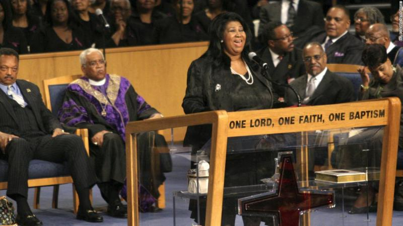 Franklin sings at civil rights pioneer Rosa Parks' funeral in 2005.