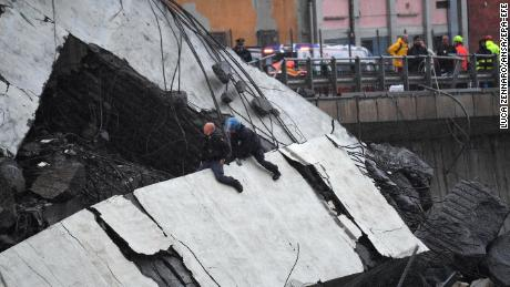A large section of the Morandi viaduct collapsed Tuesday.
