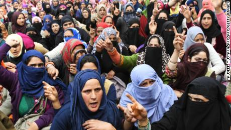 Anganwadi workers shout slogans during a protest calling for justice following the rape and murder of an eight-year-old girl in the Indian state of Jammu and Kashmir.
