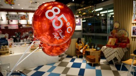 An 85C logo is seen inside one of its shops in Beijing on August 17, 2018.