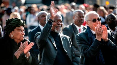 Liberian politician Ellen Johnson Sirleaf, left, Kofi Annan and former Algerian UN politician Lakhdar Brahimi, right, attend an Elders event in South Africa on July 18.