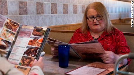Aimee Stephens has a meal at the Redford Grill & Bar in Redford, Michigan.