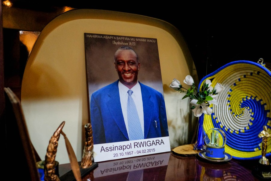 A photo of Assinapol Rwigara, who died in 2015, is displayed at the Rwigara home.