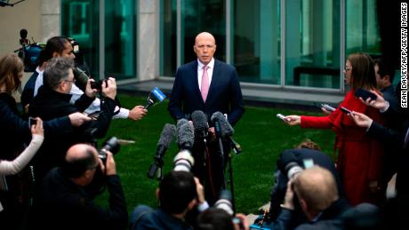 Australia's former home affairs minister, Peter Dutton, faces the media at a press conference in Canberra on August 21, 2018.