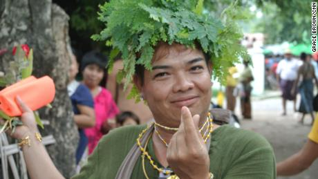 An attendee at the annual Spirit Festival in Myanmar's Taung Byone village.