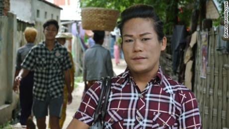 Beautician The The Darli poses for a photo during Myanmar's Spirit Festival.
