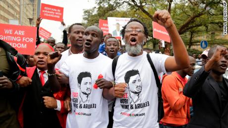 Kenyan activists and civil society groups protest in solidarity with Ugandan pop star-turned-lawmaker.