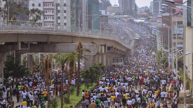 Supporters of Ethiopia Prime Minister attend a rally on Meskel Square in Addis Ababa on June 23, 2018.