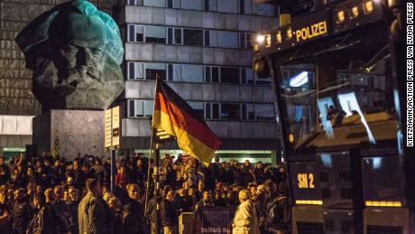 Neo-Nazis and leftist protesters take to the streets of Chemnitz on Monday after a man's stabbing.