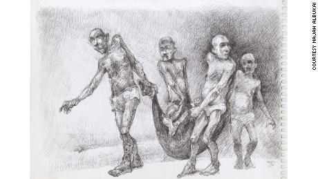 Najah al-Bukai depicts prisoners transporting the dead to mass graves.