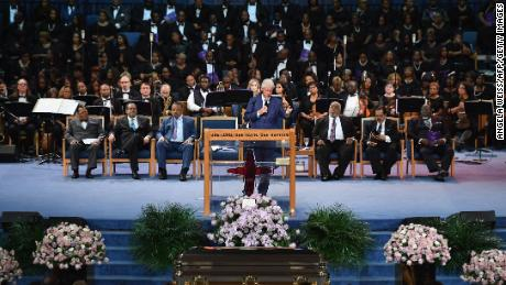 Ex-President Bill Clinton professes his admiration for Franklin at Friday's service in Detroit.