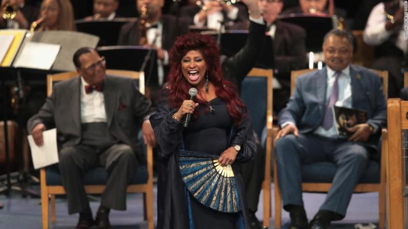 """Singer Chaka Khan performs at Franklin's funeral on Friday. She sang """"I'm Going Up Yonder,"""" which was originally sung by Tramaine Hawkins in 1994."""