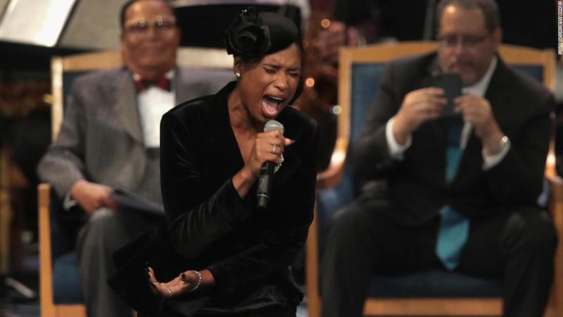 "Jennifer Hudson sings ""Amazing Grace"" at Franklin's funeral on Friday."