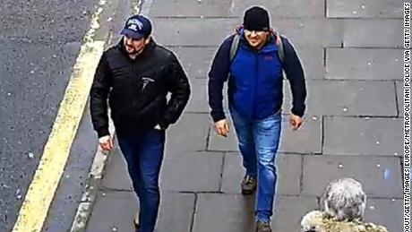 The Salisbury Novichok poisoning suspects, named as Alexander Petrov and Ruslan Boshirov, are shown on CCTV in Salisbury on March 4, 2018.
