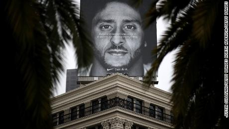 A billboard featuring Kaepernick is displayed on the roof of the Nike Store in San Francisco