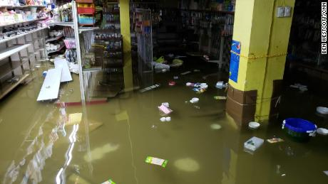 Basements in Macau flooded due to heavy rain brought by the typhoon.