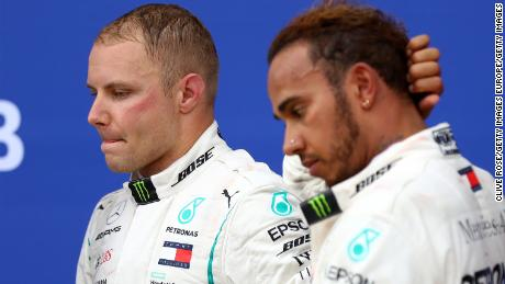 The tension is plain to see on the podium for the Russian Grand Prix as second-placed Valtteri Bottas and winner Lewis Hamilton reflect on a controversial race in Sochi.