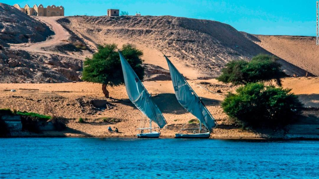 These traditional wooden sailing boats, with their triangluar-shaped sails, have been cruising the River Nile for centuries.