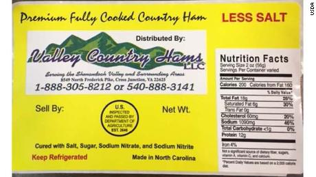 Several brands of ham produced by Johnston County Hams have been recalled.