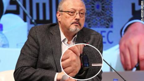 Jamal Khashoggi is pictured this year wearing Apple Watch.