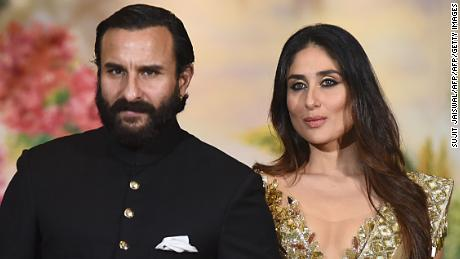 Indian actors Saif Ali Khan and his wife Kareena Kapoor Khan.