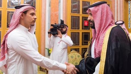 Saudi Crown Prince Mohammed bin Salman and his father King Salman pictured shaking hands with Salah bin Jamal Khashoggi.
