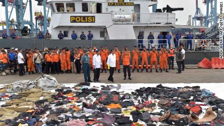 Joko Widodo, President of Indonesia, travels to the Operations Center while salvaged debris from the ill-fated Lion JT 610 is deployed in a port in the north of Jakarta.