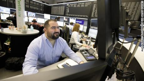 Traders at the Frankfurt Stock Exchange. Germany's DAX index gained more than 1% on Wednesday.