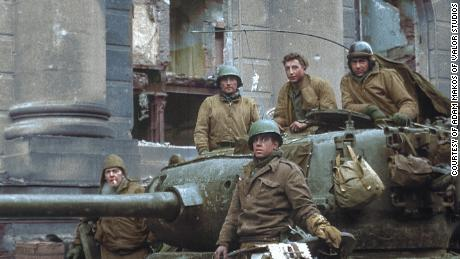 Smoyer (top center) and his crew pause during a lull in the fighting. He thought he wouldn't survive the war.