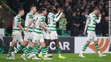 Odsonne Edouard celebrates scoring Celtic's second goal against RB Leipzig at Celtic Park.