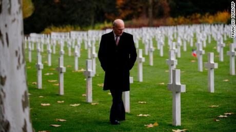 White House Chief of Staff John Kelly visits the Aisne Marne American Cemetery near the Belleau Wood battleground, in Belleau, France, Saturday, Nov. 10, 2018. Belleau Wood, 90 kilometers (55 miles) northeast of the capital, Iis the place where U.S. troops had their breakthrough battle by stopping a German push for Paris shortly after entering the war in 1917. (AP Photo/Francois Mori)