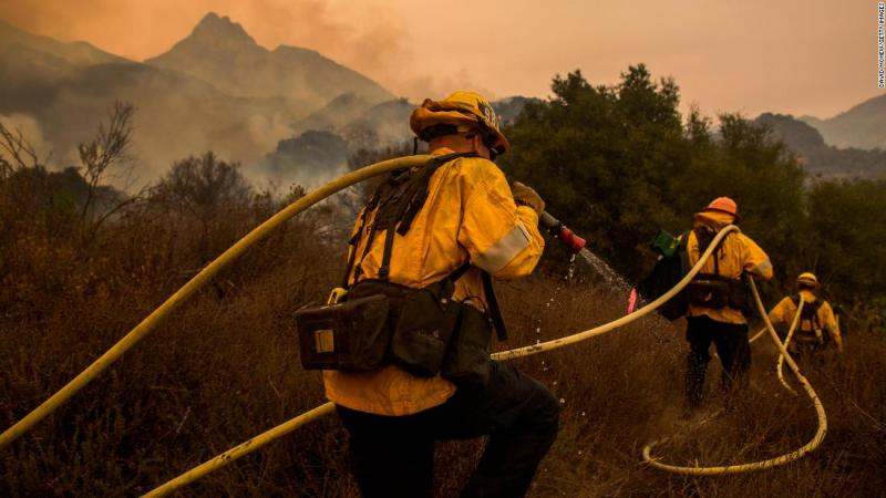 Los Angeles County firefighters work in Malibu Creek State Park on November 10.