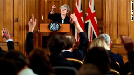 Theresa May takes questions during a press conference inside 10 Downing Street on Thursday.