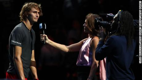 Alexander Zverev was booed by some in the crowd Saturday during his on-court interview.