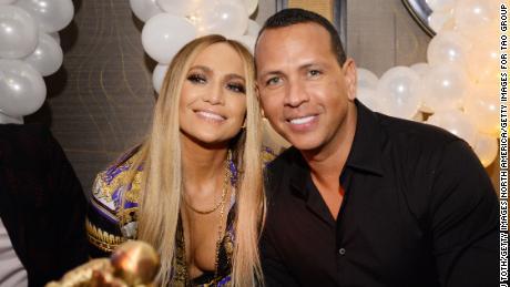 Jennifer Lopez and Alex Rodriguez attend Jennifer Lopez's MTV VMA's Vanguard Award Celebration at Beauty & Essex on August 21, 2018.