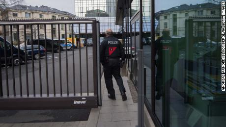 A police officer outside the  headquarters of Deutsche Bank in Frankfurt, Germany, on Thursday.