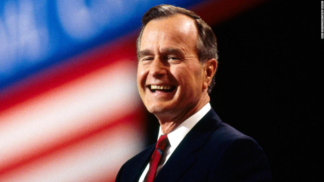 President George H.W. Bush attends the Republican National Convention in Houston in 1992. Bush dedicated his life to serving others. He held many different roles in government, the highest being President.