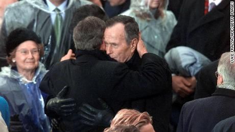 Bush's eldest son, George Walker Bush, was elected President in 2000. They became the second father-son duo in history to hold the office (the first being John Adams and John Quincy Adams). The two Georges hug here moments after the youngest was sworn in on January 20, 2001.
