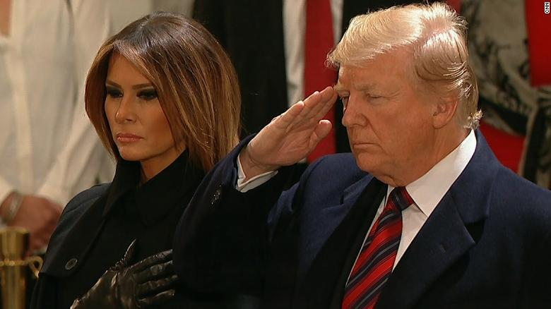 Trumps pay respects to George H.W. Bush