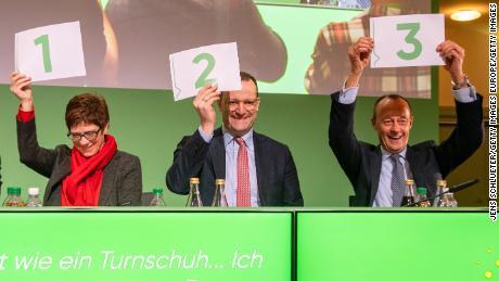 Left to right, Annegret Kramp-Karrenbauer, Jens Spahn and Friedrich Merz are bidding to succeed Angela Merkel as leader of the CDU.