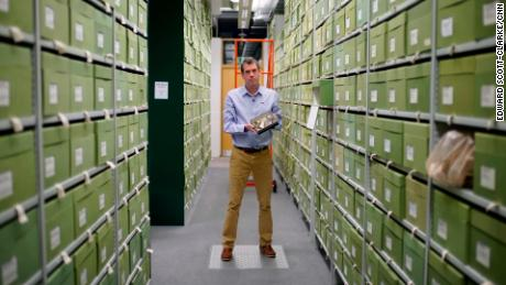 Tom Prescott in the fungarium of the Royal Botanic Gardens Kew, which contains about 1.25 million specimens of fungi.