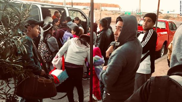Asylum seekers boarded a van to a migrant shelter in Nogales on the Mexican side of the border. They had been waiting from a day to two weeks to apply for asylum at the US port of entry in Nogales, Arizona.
